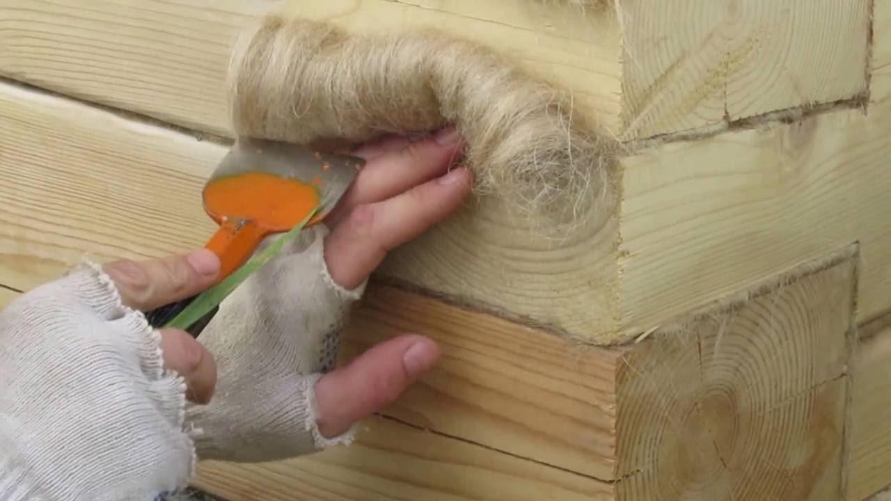 конопатка сруба из бруса