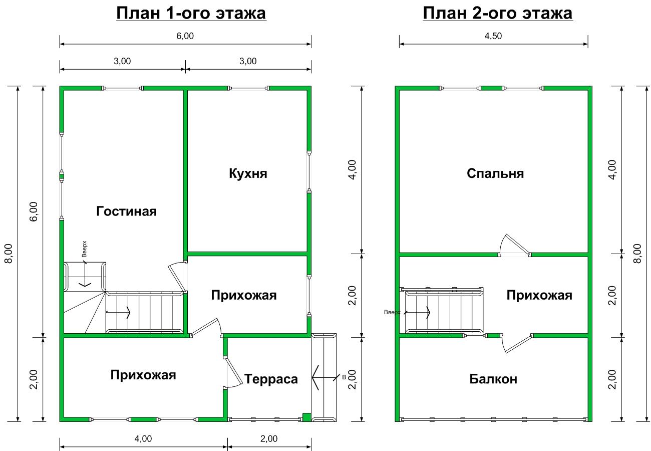 план дома с балконом